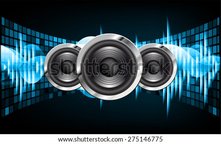 Sound waves oscillating glow blue light, Abstract technology background. Vector. Speaker.