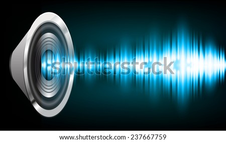 Sound waves oscillating glow blue light, Abstract technology background. Vector. speakers.