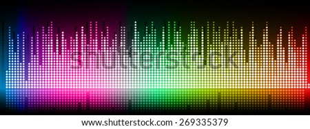 Sound waves oscillating glow blue pink green yellow red light, Abstract technology background. Vector. black background. city. building