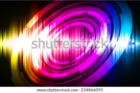 Sound waves oscillating glow blue purple yellow light, Abstract technology background.