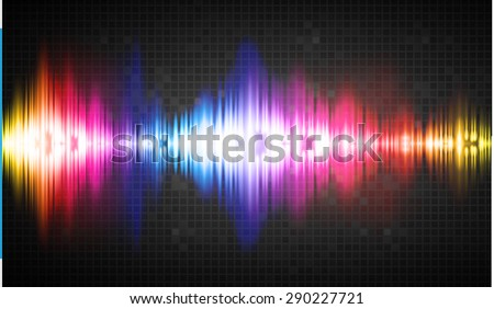 Sound waves oscillating glow colorful light, Abstract technology background. Vector.