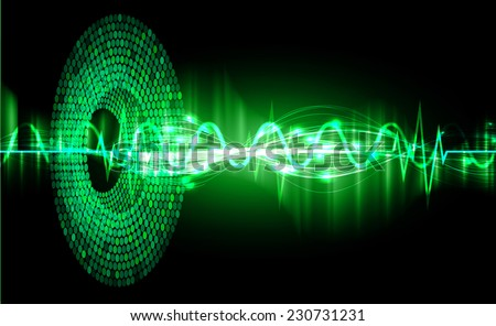 Sound waves oscillating glow green color light, Abstract graphic technology background. Vector. pulse heart.