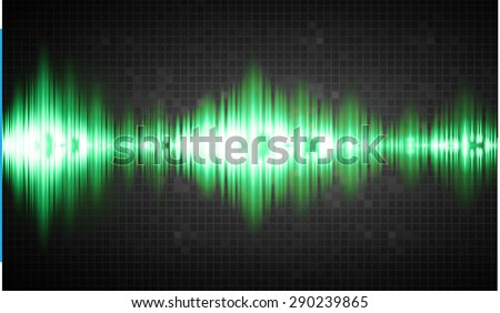 Sound waves oscillating glow green light, Abstract technology background. Vector.