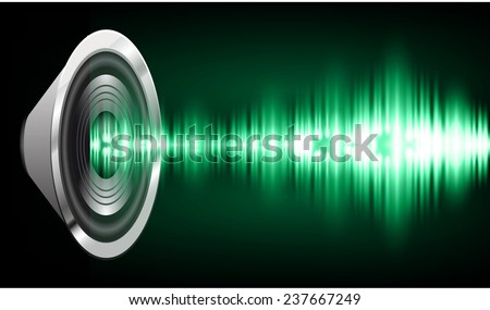 Sound waves oscillating glow green light, Abstract technology background. Vector. speakers.