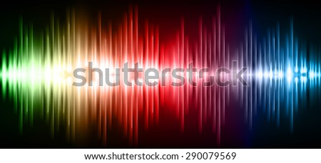 Sound waves oscillating glow green red blue light, Abstract technology background. Vector. infographics