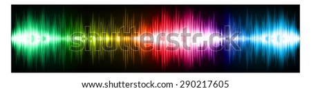 Sound waves oscillating glow green yellow red blue light, Abstract technology background. Vector. infographics