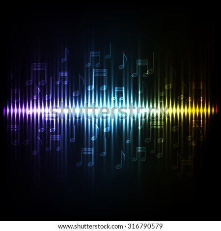 Sound waves oscillating glow light. Abstract technology background.EPS10