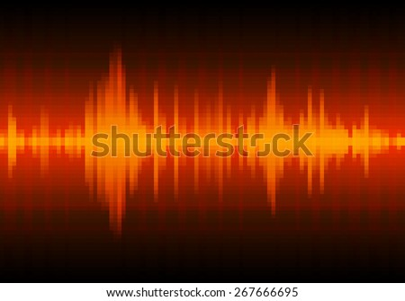 Sound waves oscillating glow light, Abstract technology background - Vector - stock vector