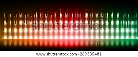 Sound waves oscillating glow orange red green light, Abstract technology background. Vector. black background. city. building