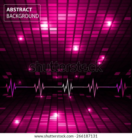 Sound waves oscillating glow pink light, Abstract technology background. Vector. pulse. Pixel, mosaic, table