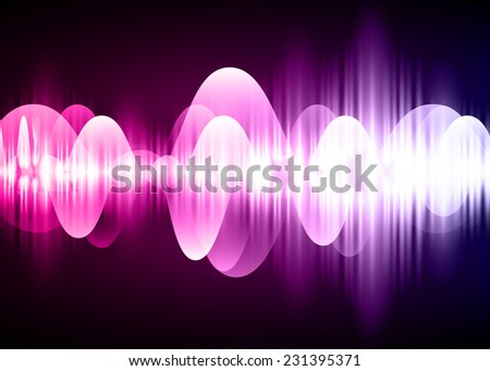 Sound waves oscillating glow pink purple light, Abstract technology background. Vector. pixel. - stock vector