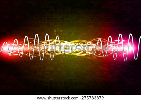 Sound waves oscillating glow pink red yellow light, Abstract technology background. Vector. Beam. infographics.