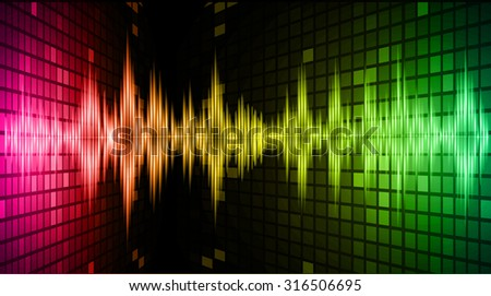 Sound waves oscillating glow pink yellow green light, Abstract technology background. Vector.