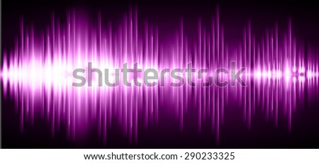 Sound waves oscillating glow purple light, Abstract technology background. Vector. infographics