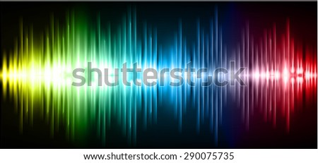 Sound waves oscillating glow yellow blue red light, Abstract technology background. Vector. infographics