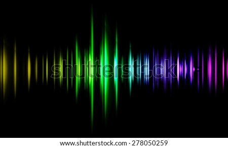 Sound waves oscillating glow yellow green purple light, Abstract technology background. Vector. infographics. wave