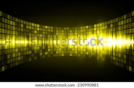 Sound waves oscillating glow yellow light, Abstract graphic computer technology background. Vector. pixels mosaic background. - stock vector