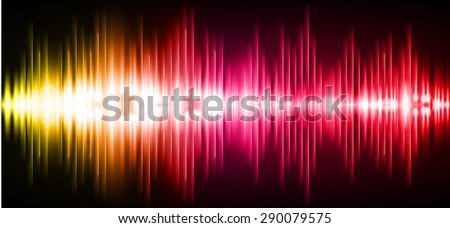 Sound waves oscillating glow yellow pink red  light, Abstract technology background. Vector. infographics