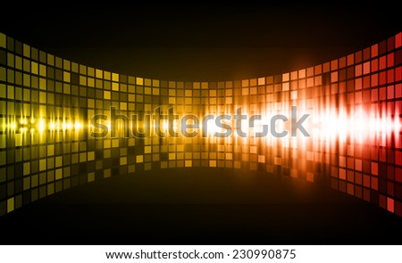 Sound waves oscillating glow yellow red  light, Abstract graphic computer technology background. Vector. pixels mosaic background. - stock vector