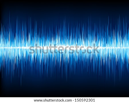 Sound waves oscillating on black background. EPS 10 vector file included