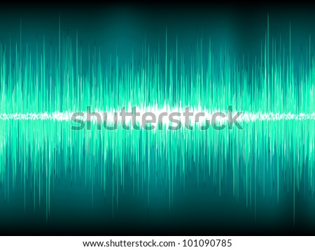 Sound waves oscillating on blue background. EPS 8 vector file included