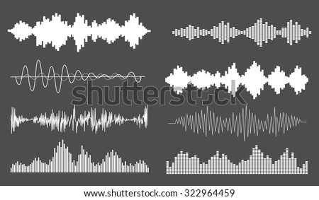 Sound waves set, isolated, vector illustration. Equalizer playing sound music waves. Black audio signal design, sound and music waves collection. - stock vector