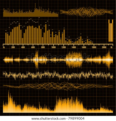 Sound waves set. Music background. EPS 8 vector file included - stock vector