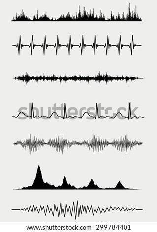 Sound waves set. Vector illustration - stock vector