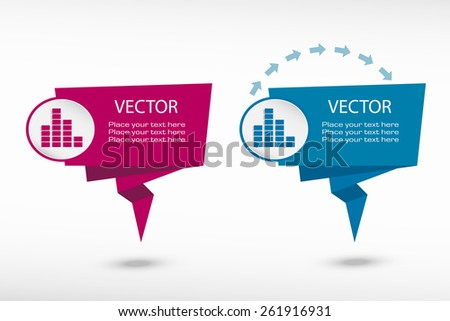 Soundwave music symbol on origami paper speech bubble or web banner, prints. Vector illustration - stock vector
