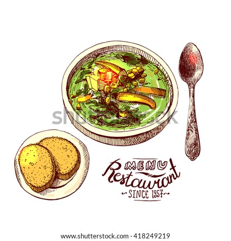 Soup and bread. Hand drawn vector sketch illustration for menu. - stock vector