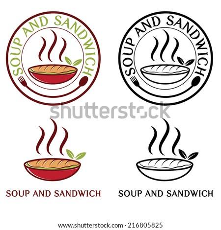 soup and sandwich labels set - stock vector