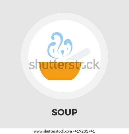 Soup icon vector. Flat icon isolated on the white background. Editable EPS file. Vector illustration. - stock vector