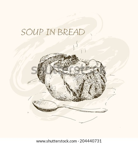 Soup in bread, Hand drawn graphic illustration - stock vector