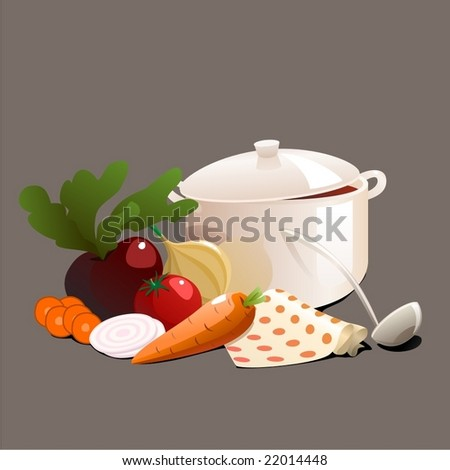 soup with vegetables - stock vector