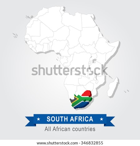South Africa. All the countries of Africa. Flag version. - stock vector