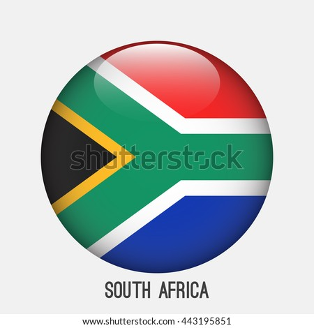 South Africa flag in circle shape. Transparent,glossy,glass button