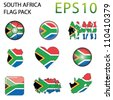 South Africa Flag Map Pack - 9 in Total - stock photo