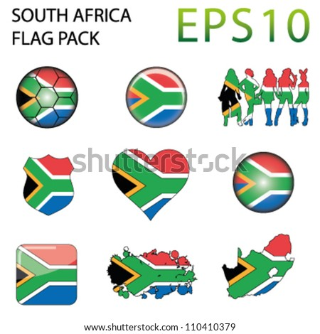South Africa Flag Map Pack - 9 in Total - stock vector