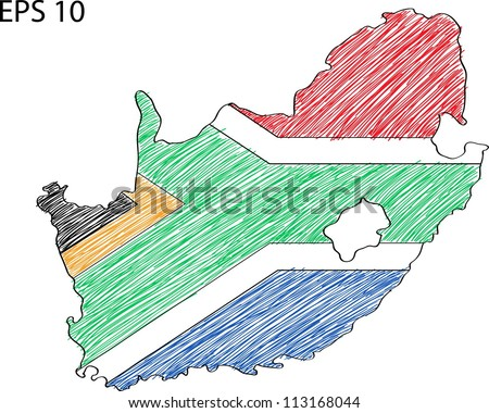 south africa map sketch