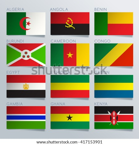 South Africa Flag Ribbon Set : Vector Illustration