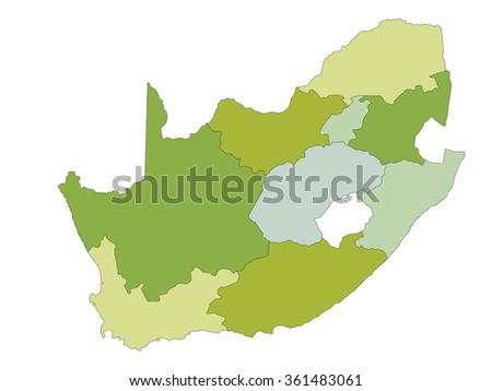 South Africa - Highly detailed editable political map. - stock vector