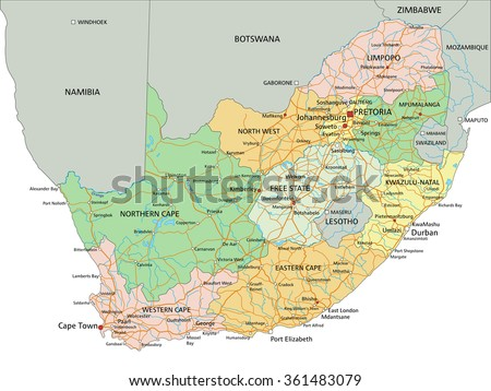 South Africa Highly Detailed Editable Political Stock Vector - South africa political map