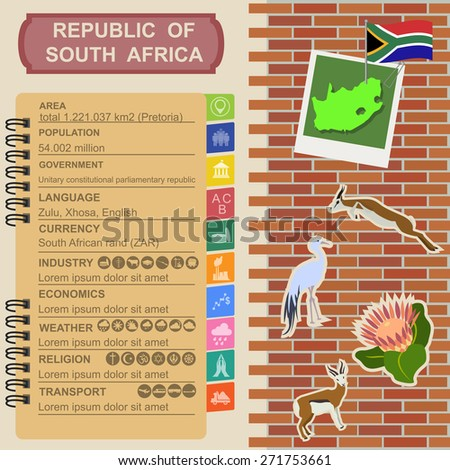 South Africa infographics, statistical data, sights. Vector illustration - stock vector