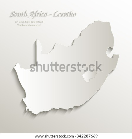 South Africa Lesotho map card paper 3D natural vector - stock vector