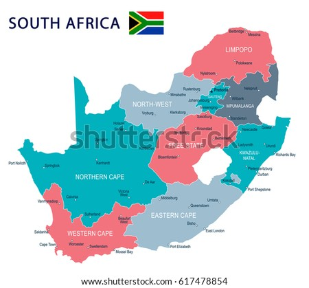 South Africa Map Flag Highly Detailed Stock Vector 617478854