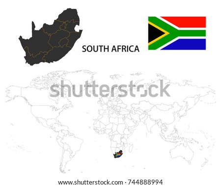 South africa map on world map stock vector 744888994 shutterstock south africa map on a world map with flag on white background gumiabroncs Choice Image