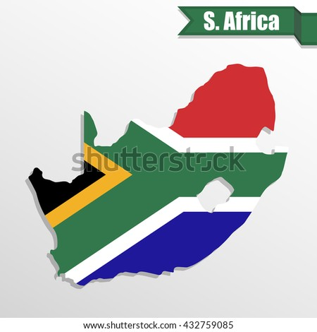 South Africa map with flag inside and ribbon