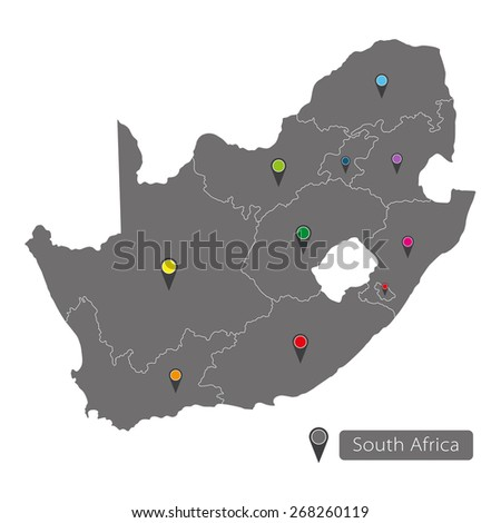 South Africa map with regions on white background - stock vector