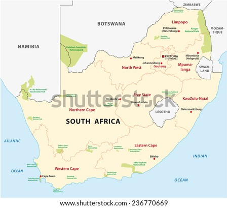 south africa national park map - stock vector