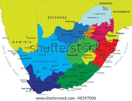 South Africa political map with provincial boundaries - stock vector